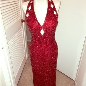 Red Formal Sequin Gown